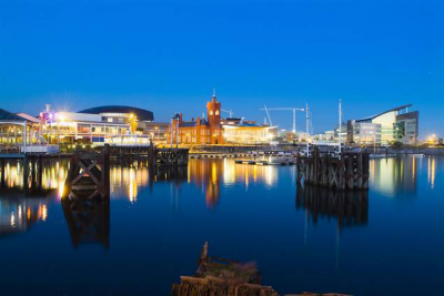 Cardiff Bay at Night - Image courtesy of Cardiff Harbour Authority Web Design Cardiff - Cardiff Web Design