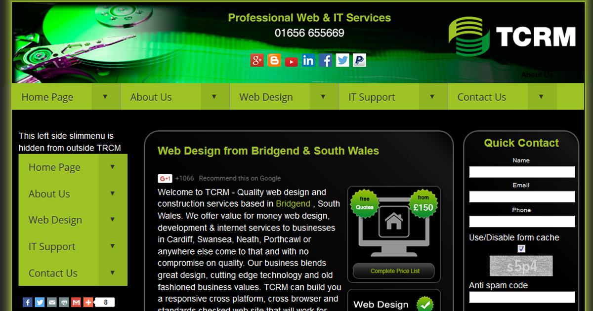 Business Web Design Bridgend from TCRM Technology Ltd -