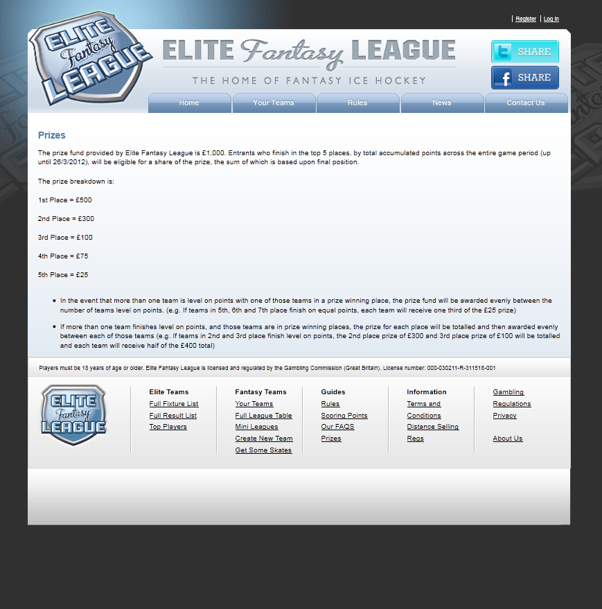 An Image from the Elite Fantasy League Website