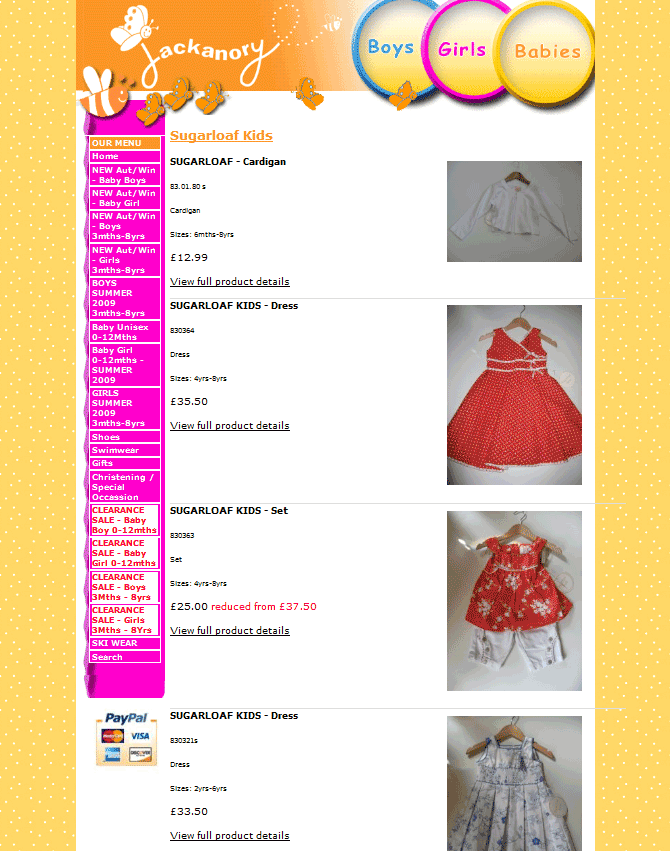 An image from the JackanoryChildrensWear Website