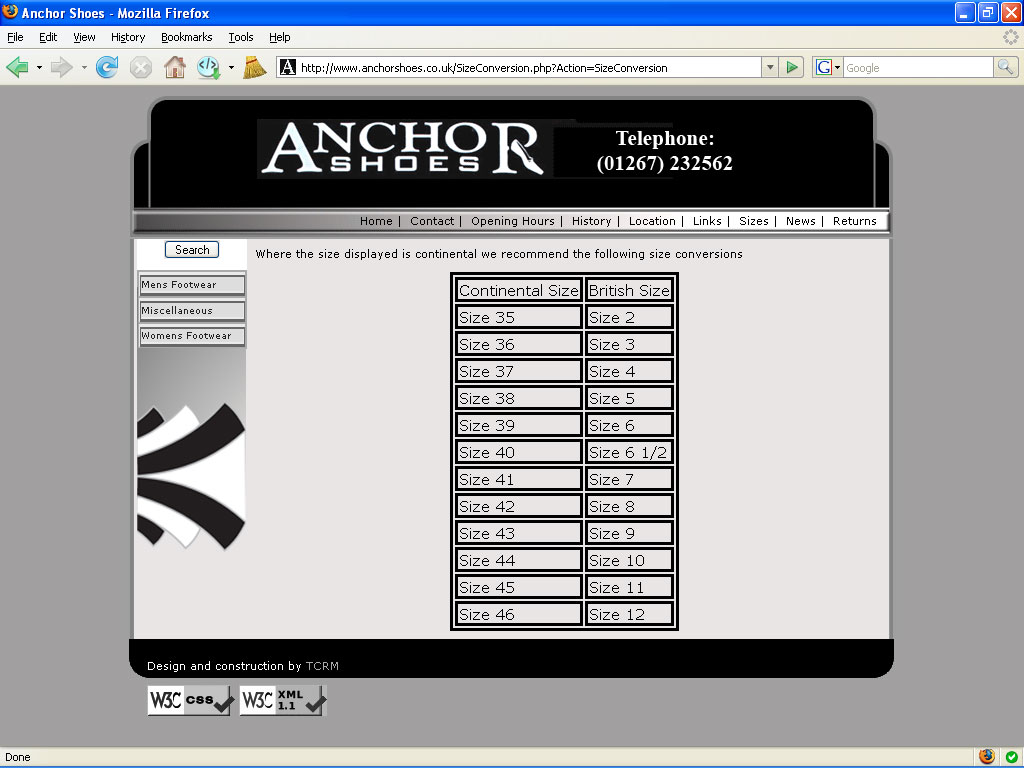 An image from the Anchor Shoes web site