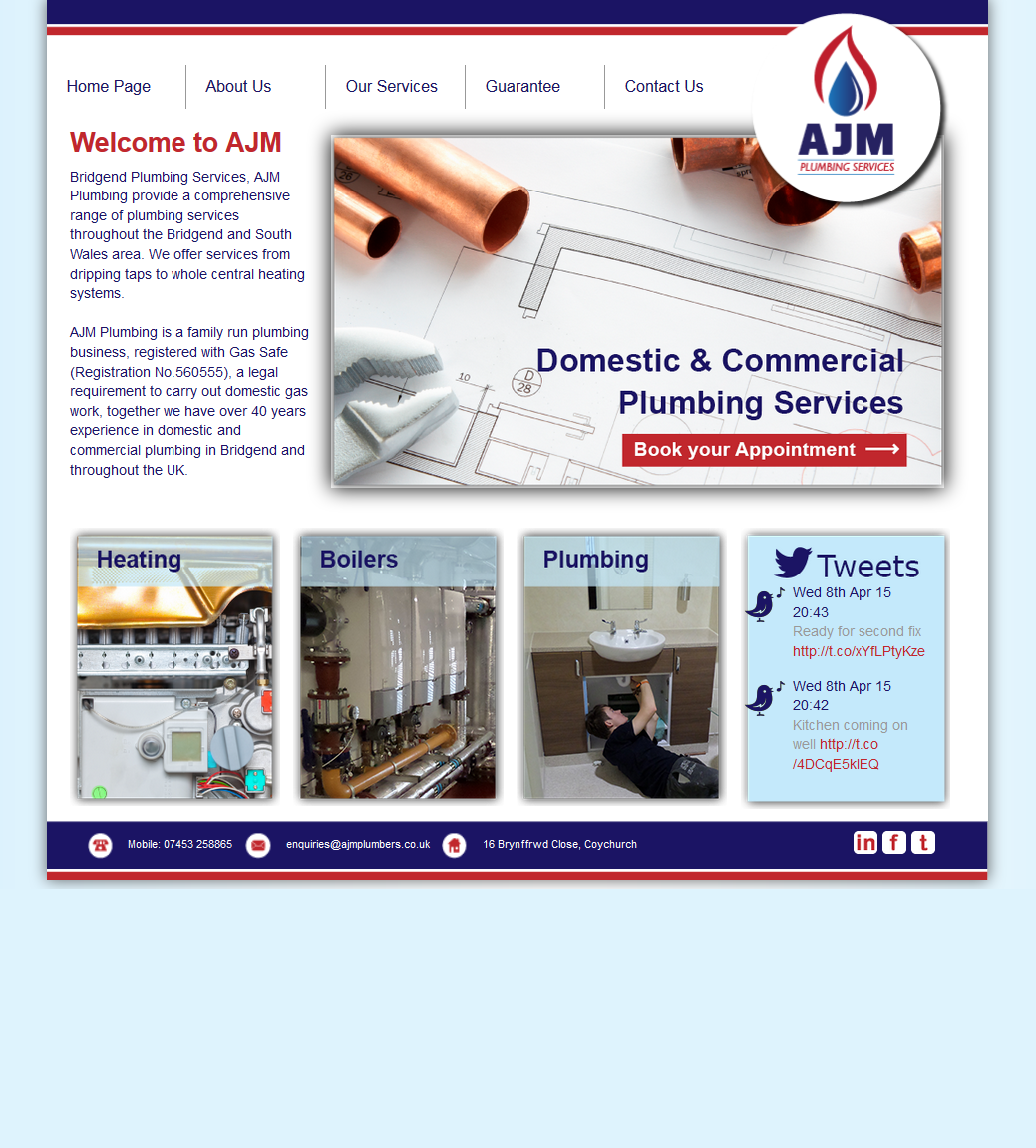 An image from the AJM Plumbing website