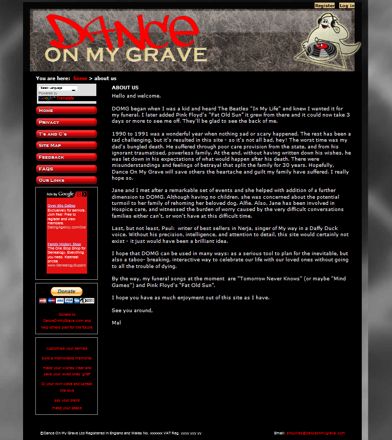 An Image from the Dance on my Grave Website