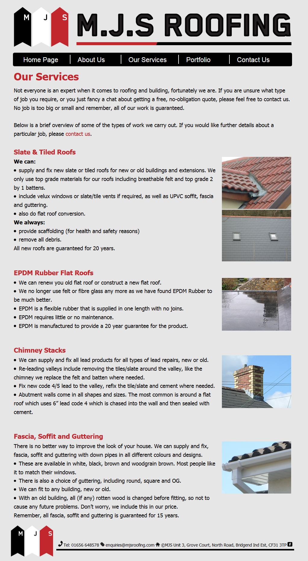 An image from the MJS Roofing website